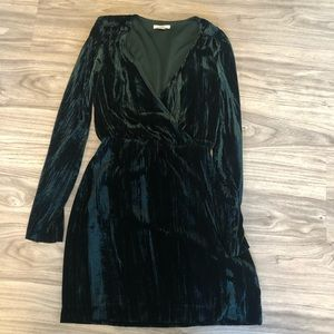 H&M Short V-Neck Faux Wrap Dark Green Velvet Dress